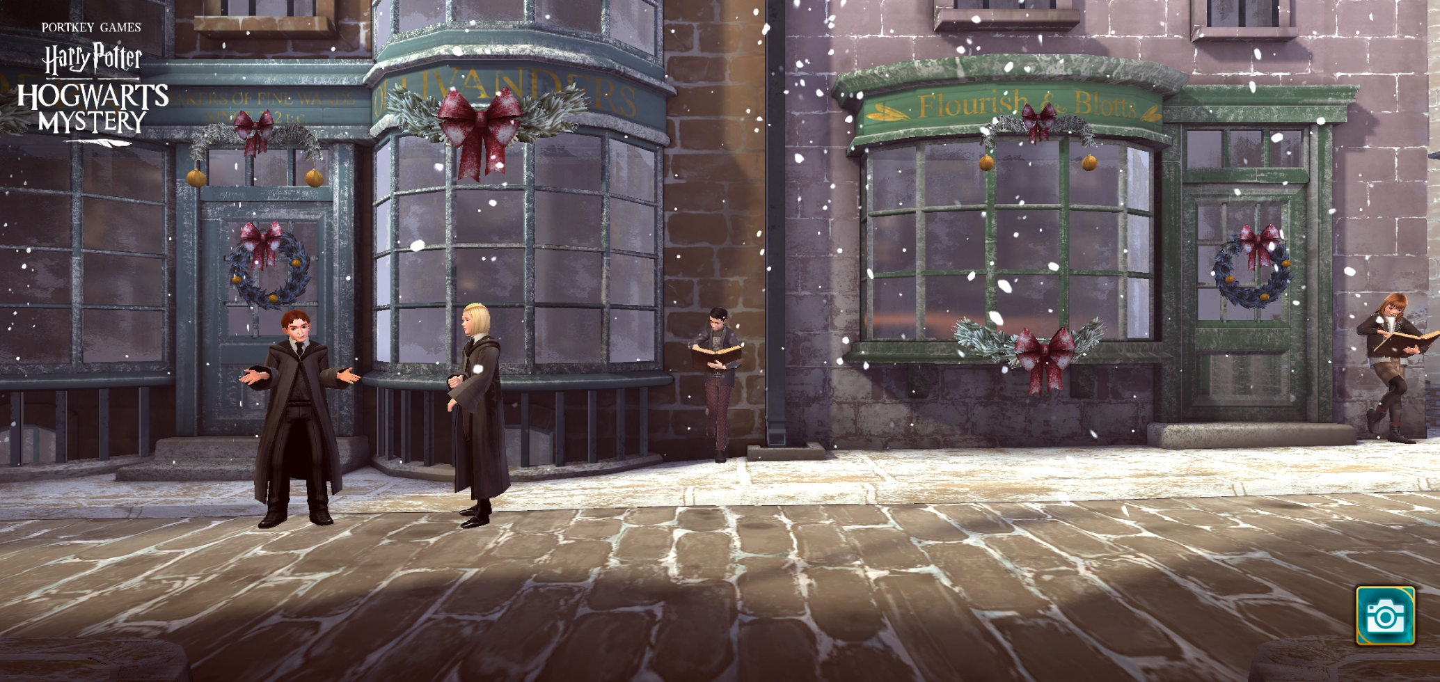 "Diagon Alley is all wreaths and ribbons in the latest ""Harry Potter: Hogwarts Mystery"" update."