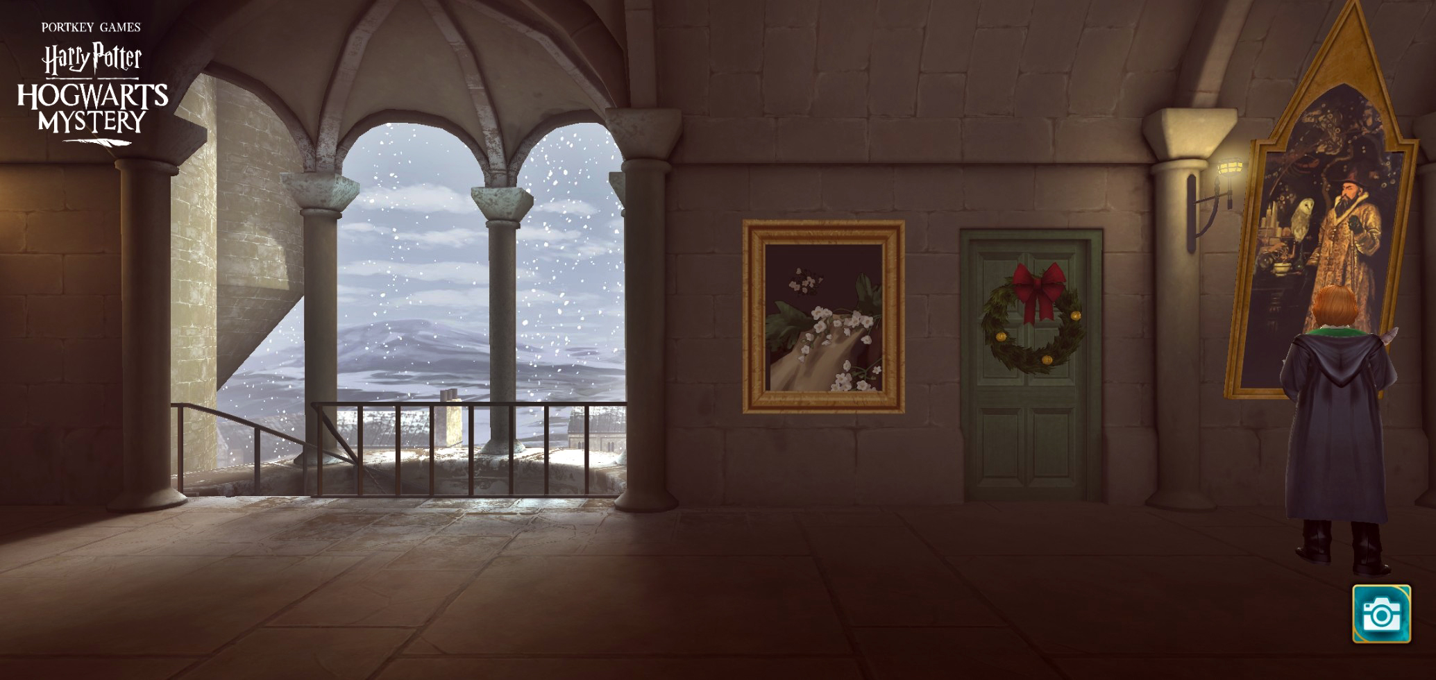 Even the limited view of the outdoors from outside the Gryffindor common room features an idyllic snowy scene.