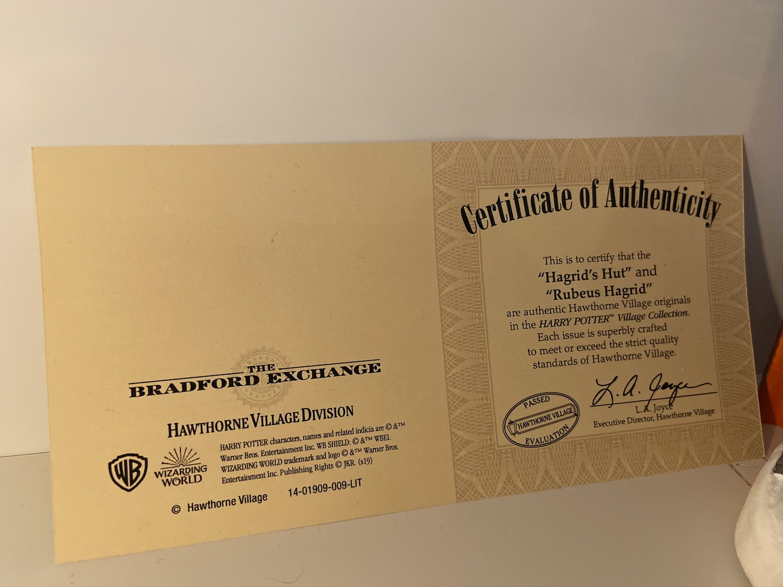 Bradford Exchange Hagrid's Hut certificate