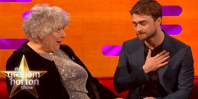"Daniel Radcliffe and Miriam Margolyes share the couch on ""The Graham Norton Show""."