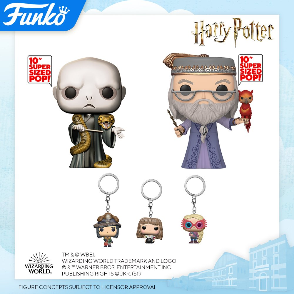 Image of two ten inch Funko pops and three Funko pop keychains