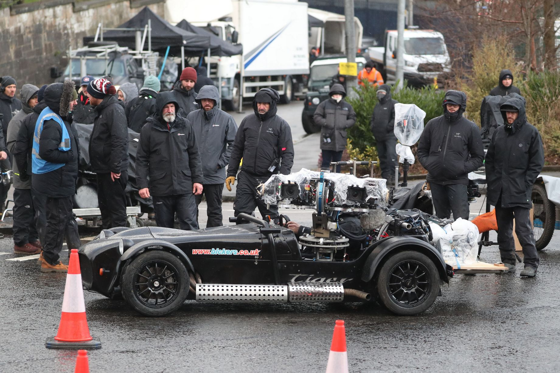 """Crews brave inclement weather during filming for """"The Batman"""" in Glasgow, Scotland."""