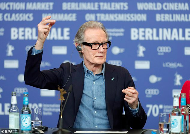 "Bill Nighy adds a little flare to his answer during a press conference for ""Minamata"" at the BIFF."