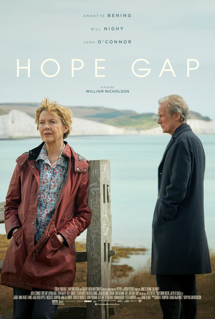 "Bill Nighy and Annette Bening in the movie poster for ""Hope Gap""."