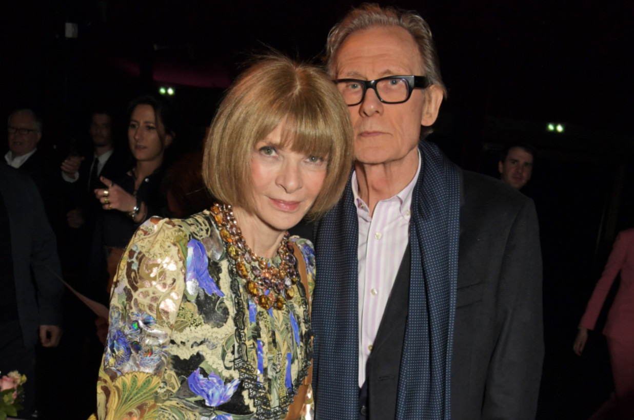 "Bill Nighy poses with Dame Anna Wintour at a special screening of ""Emma""."