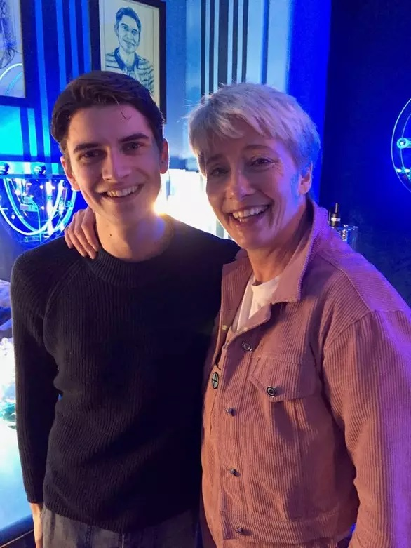 "Dame Emma Thompson with Marcus Harman at ""Dear Evan Hansen""."