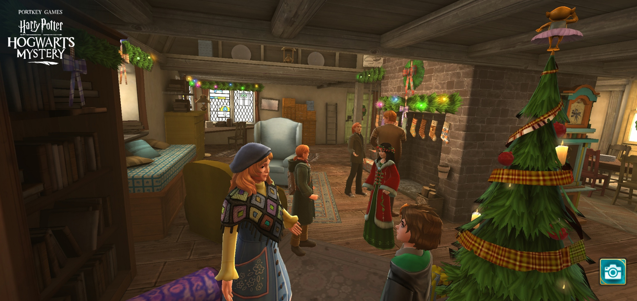 """You and the Weasley clan mill about the den at the Burrow in """"Harry Potter: Hogwarts Mystery""""."""