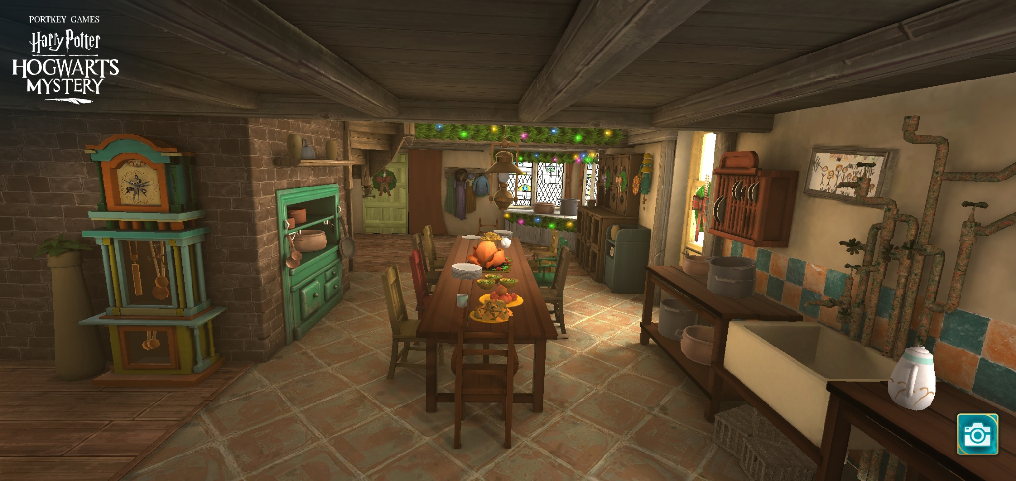 "A Molly Weasley feast awaits in the kitchen of the Burrow in ""Harry Potter: Hogwarts Mystery""."
