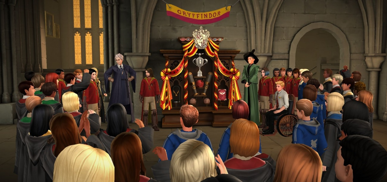 "Gryffindor House celebrates after winning the Quidditch Cup in ""Harry Potter: Hogwarts Mystery""."