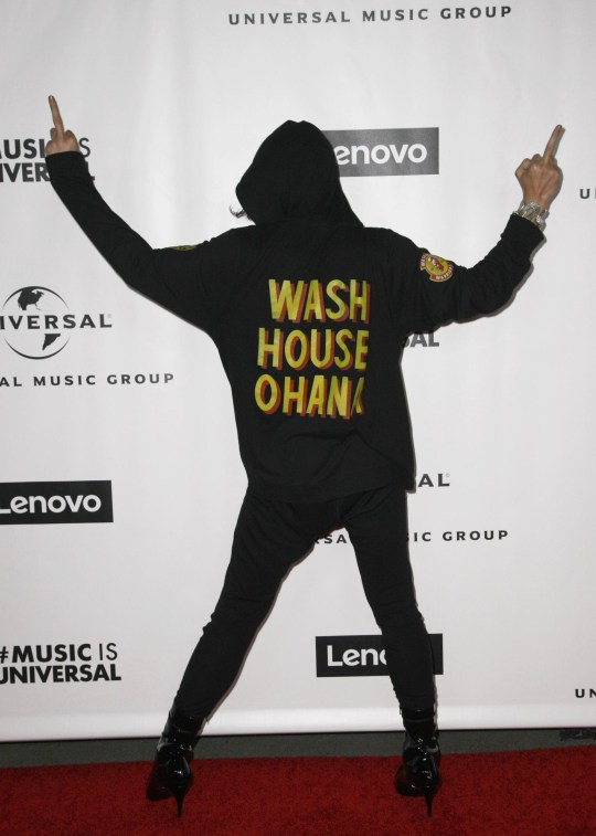 Ezra Miller poses at a Grammys after-party.