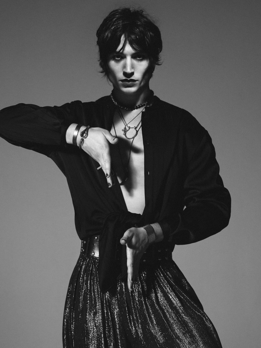 Ezra Miller poses in a photo from the Yves Saint Laurent menswear campaign.