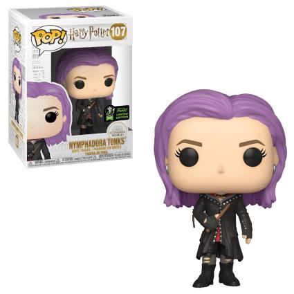 The Nymphadora Tonks Pop! figure features the character's rebel attire and purple hair.