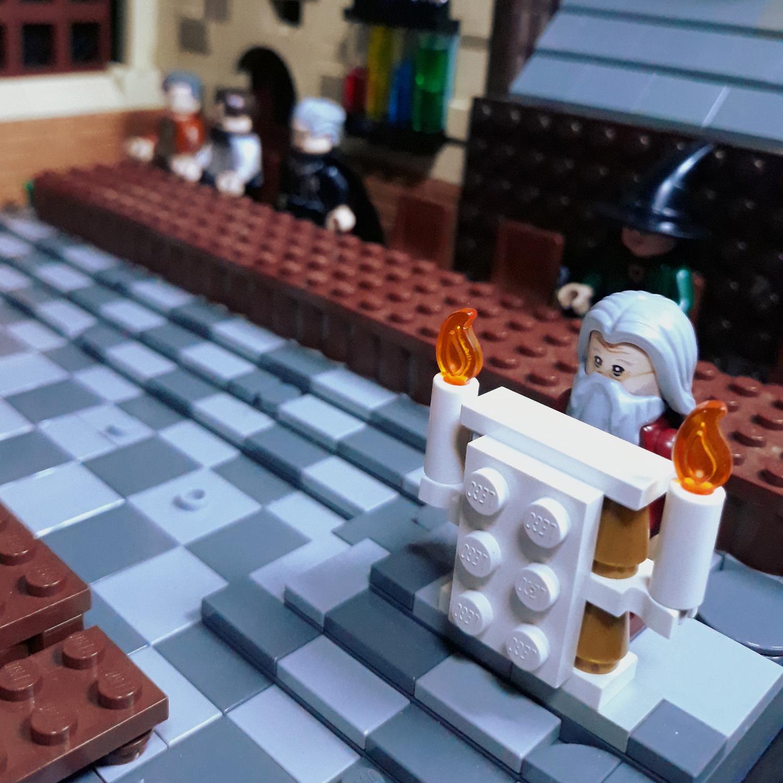 Dumbledore at the podium