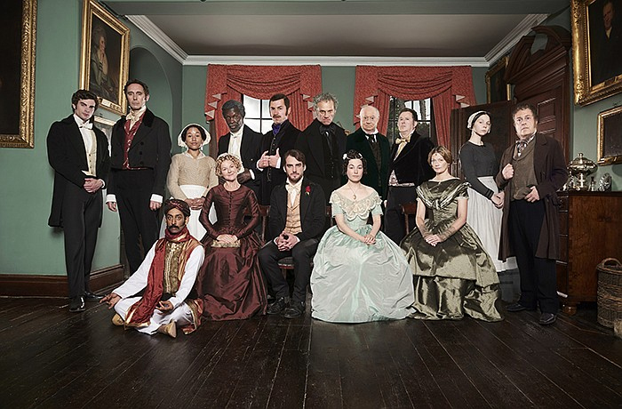 "Guy Henry and the cast of ""The Moonstone"" pose for a photo."
