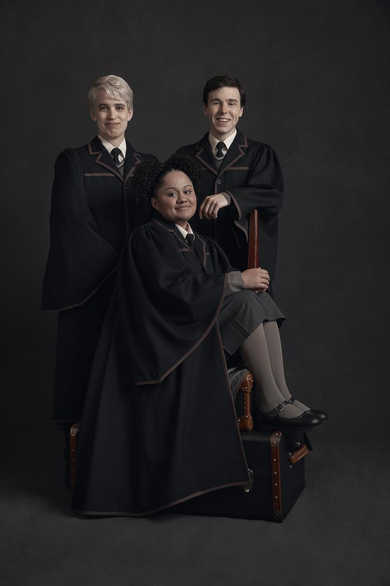 From left: Nyx Calder as Scorpius Malfoy, Manali Datar as Rose Granger-Weasley, and Sean Rees-Wemyss as Albus Potter.