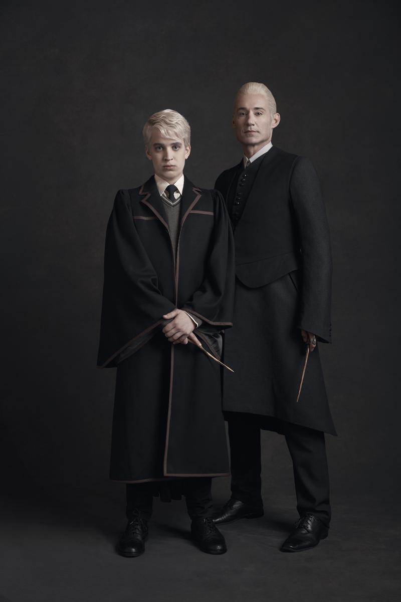Nyx Calderas as Scorpius Malfoy and Tom Wren as Draco Malfoy.