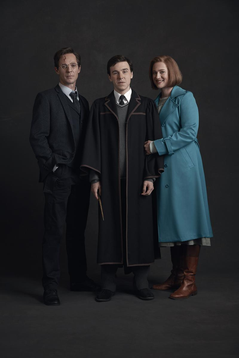 From left: Gareth Reeves as Harry Potter, Sean Rees-Wemyss as Albus Potter, and Lucy Golebyas as Ginny Potter.