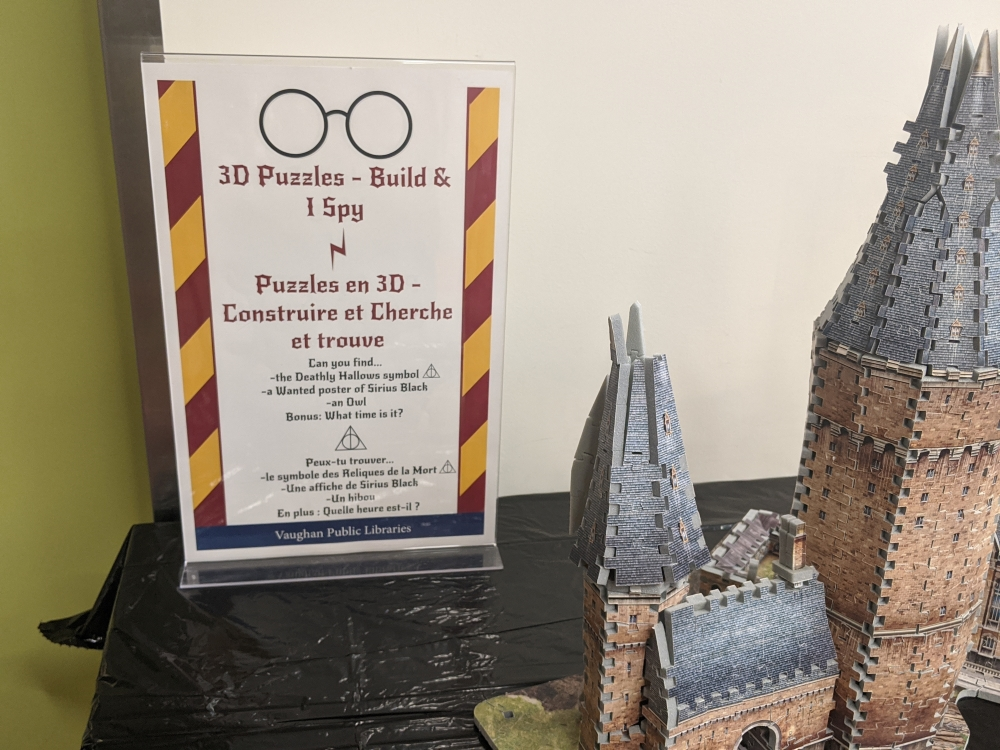 Activities included 3D puzzles and a game of I spy for participants.