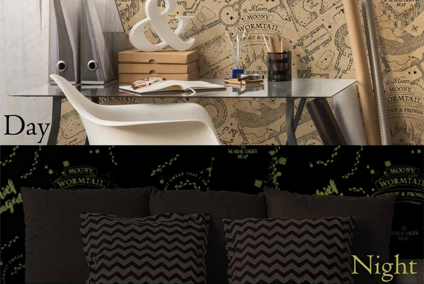 "The ""Harry Potter Glow in the Dark Mischief Managed Wallpaper"" from Wilko is pictured."
