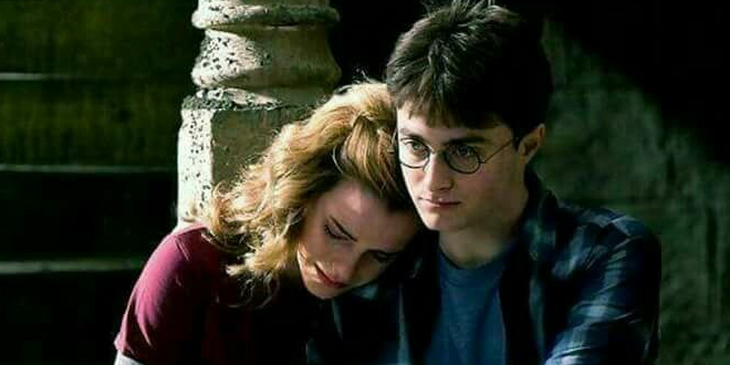 Hermione crying, her head resting on Harry's shoulder