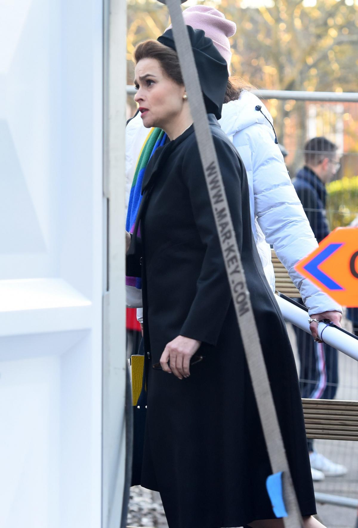 "Helena Bonham Carter is spotted filming ""The Crown"" Season 4."