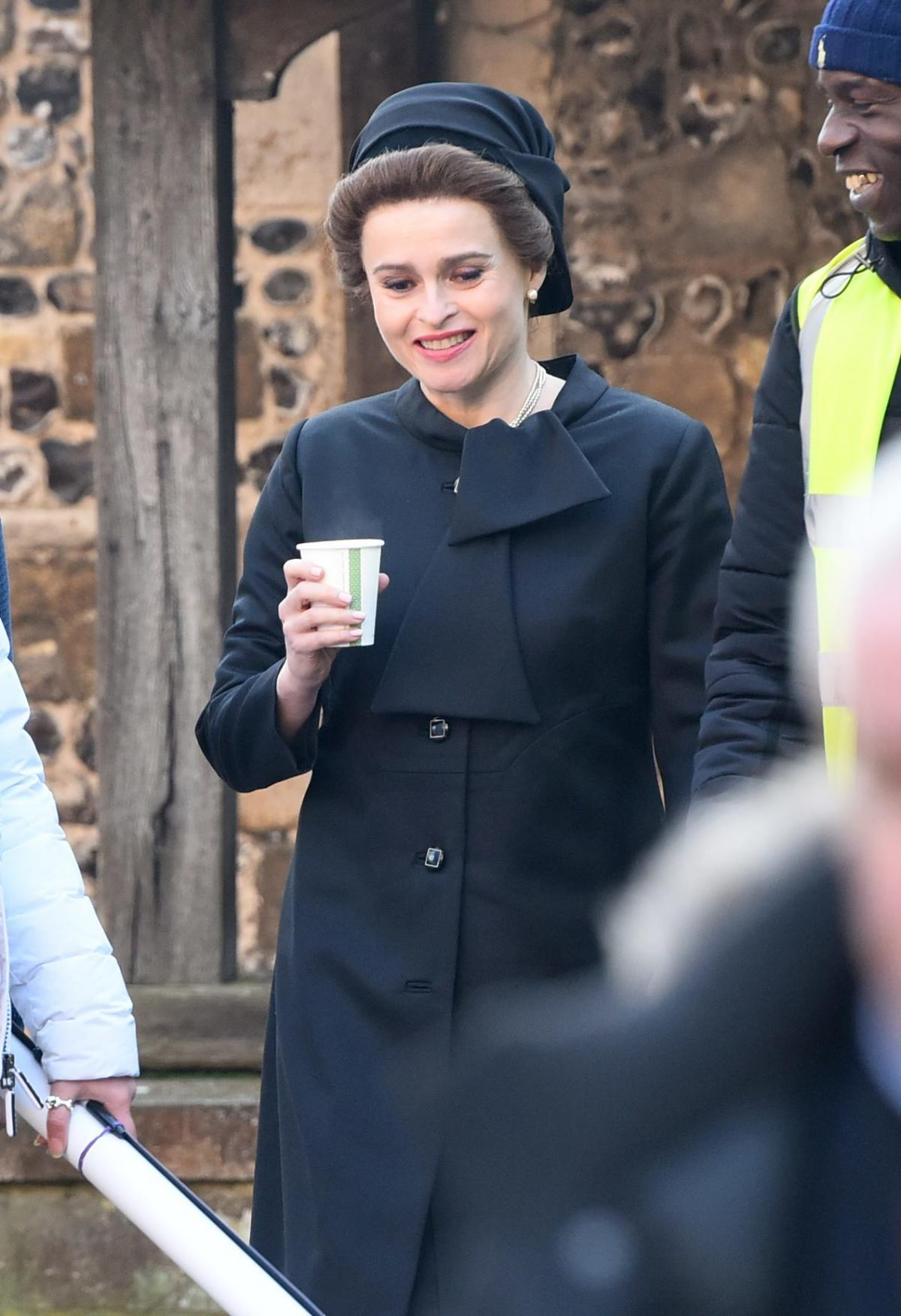 "Helena Bonham Carter is spotted filming ""The Crown"" Season 4."