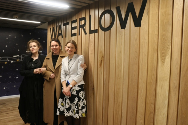 Helena Bonham Carter and Olivia Colman pose with Vicky Bingham at Waterlow Hall.