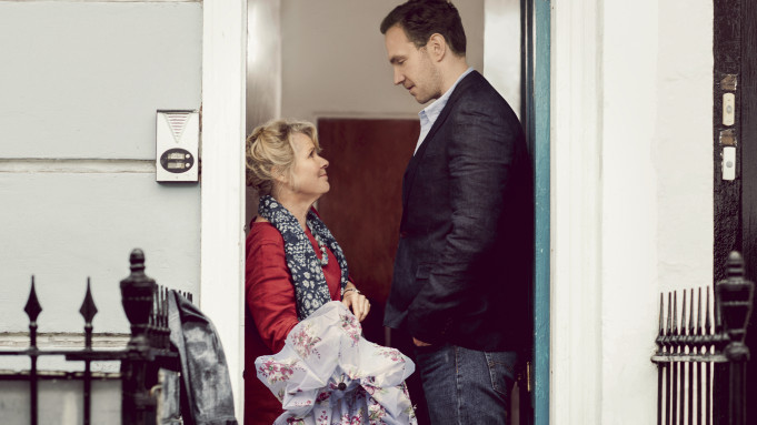 "This image shows Imelda Staunton in her new Apple TV+ show ""Trying""."