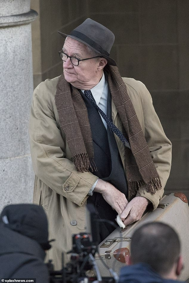 """Jim Broadbent is spotted while filming """"The Duke""""."""
