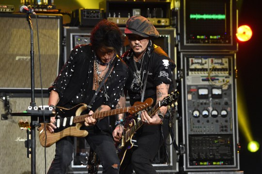 Johnny Depp with Joe Perry at Aerosmith's 50th anniversary celebration.