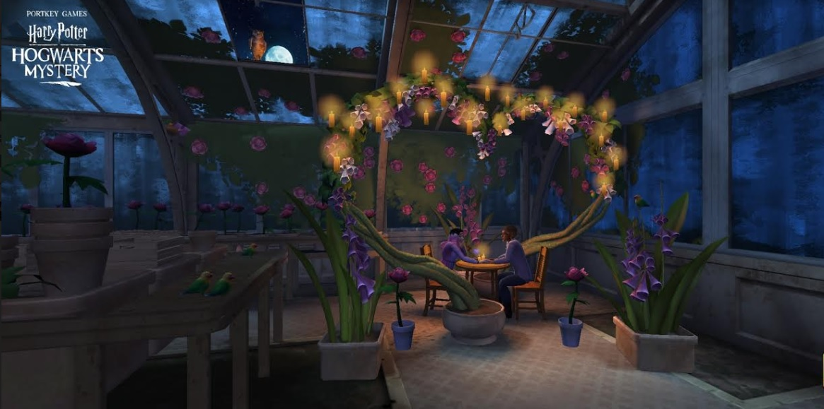 """You and your Valentine's Day date enjoy an evening in the greenhouse in """"Harry Potter: Hogwarts Mystery""""."""
