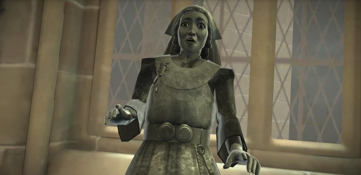 """Madam Pomfrey has fallen victim to the statue curse in """"Harry Potter: Hogwarts Mystery""""."""