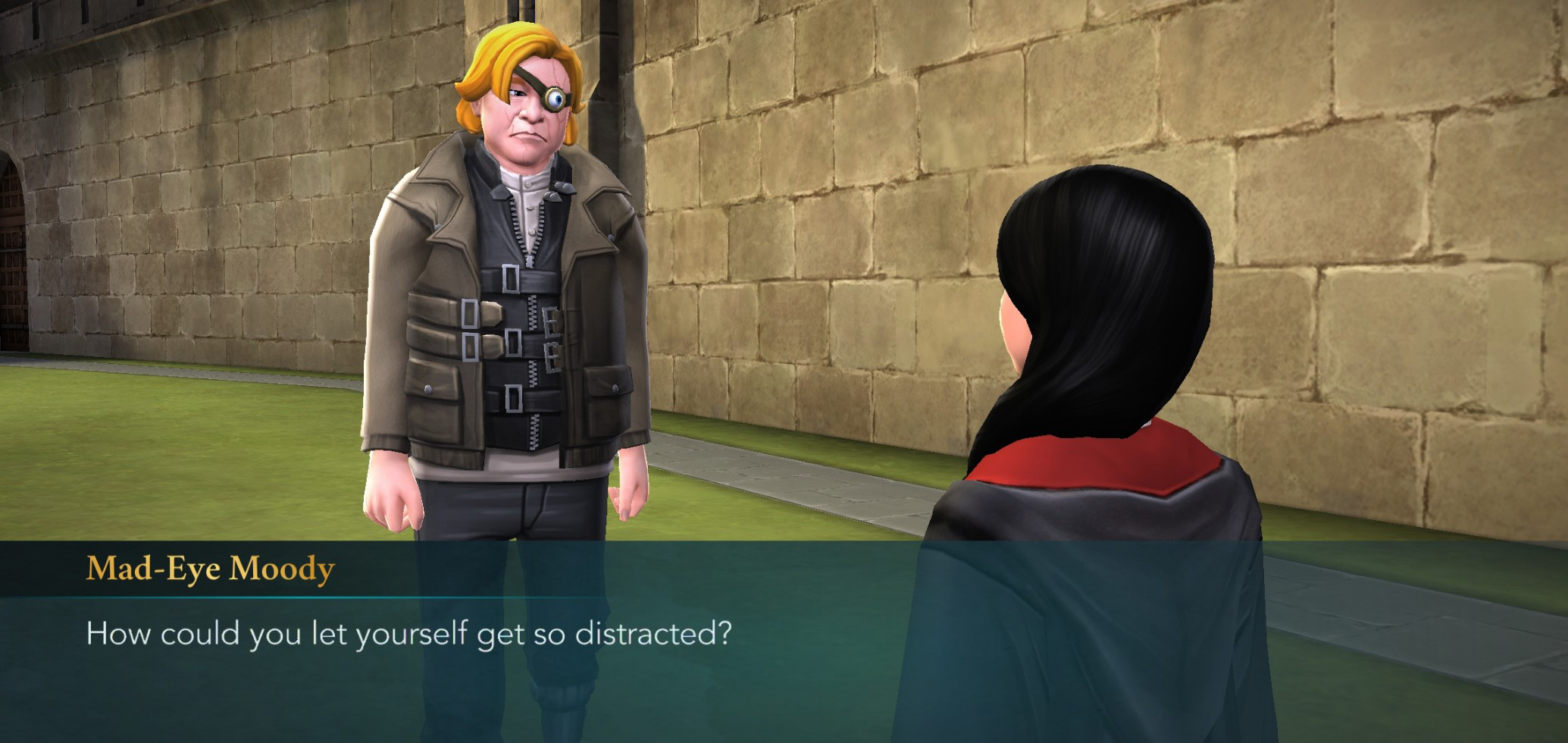 "Mad-Eye Moody doesn't think you're being constantly vigilant enough in ""Harry Potter: Hogwarts Mystery""."