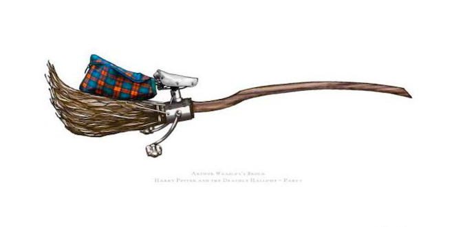 Concept art from MinaLima showing Arthur Weasley's broomstick.