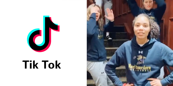 """Members of the women's basketball team at Northwestern University create a TikTok video based on """"Harry Potter and the Mysterious Ticking Noise""""."""