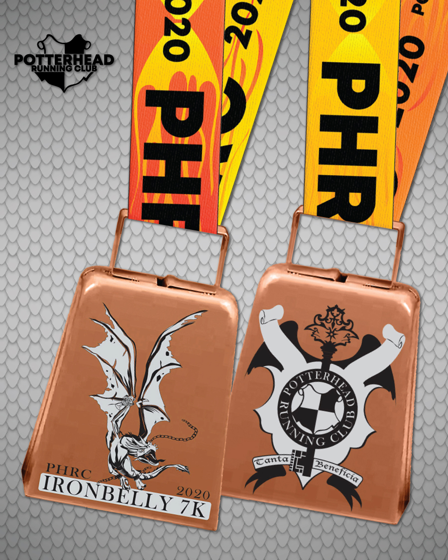 Medals for the PHRC Ironbelly 7K feature a Ukrainian Ironbelly dragon and a Gringotts Wizarding Bank crest on a bell.