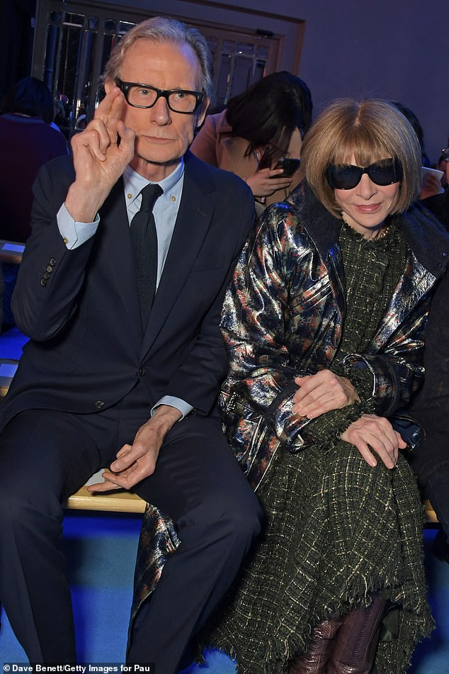 Bill Nighy poses with Anna Wintour at Paul Smith's 50th anniversary show.