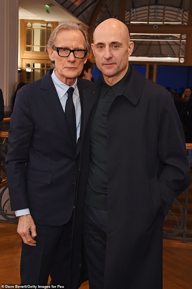 Bill Nighy poses with Mark Strong at Paul Smith's 50th anniversary show.