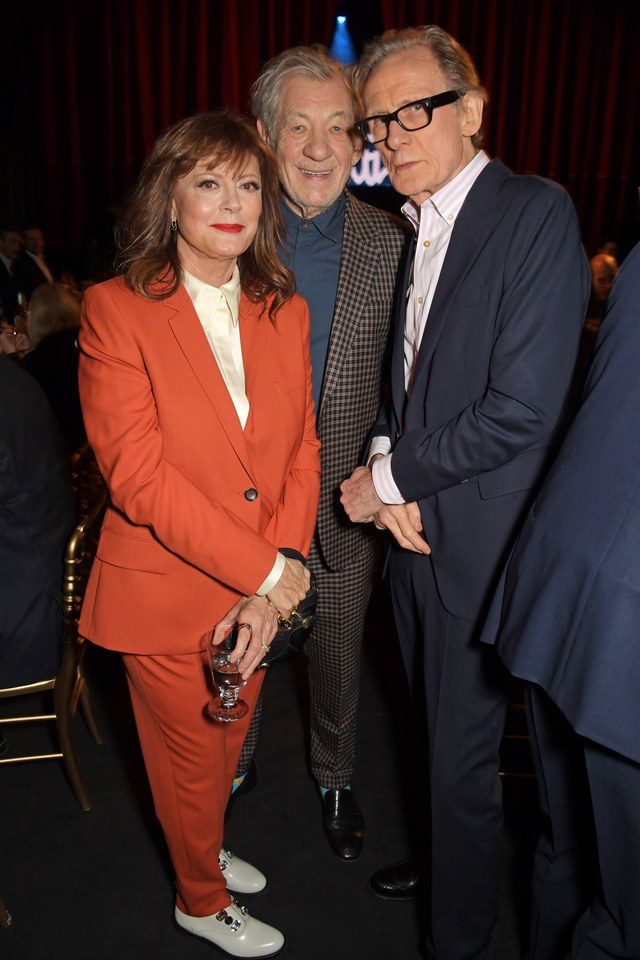 Bill Nighy poses with Sir Ian McKellen and Susan Sarandon at Paul Smith's 50th anniversary show.