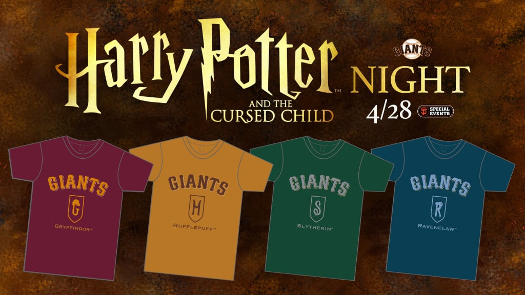 """A graphic for """"Harry Potter and the Cursed Child"""" Night at Oracle Park features the House-themed T-shirts."""