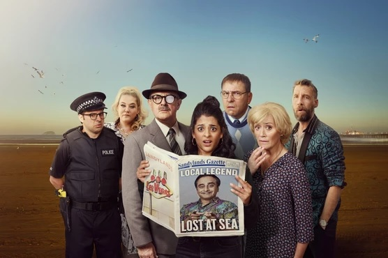 "Sophie Thompson and the cast of ""Sandylands"" pose for a promotional photo."