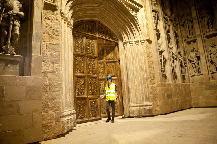 Nick Myers by Great Hall doors at WB Studio Tour when under construction, 2011