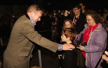 Mark Williams (Arthur Weasley) with one millionth visitor to WB Studio Tour, 2012