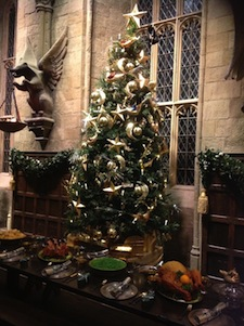 Christmas tree in Great Hall at WB Studio Tour, 2012