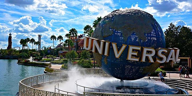 The globe logo outside Universal's theme parks at Universal Orlando Resort is pictured.