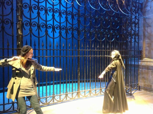 Dueling a Death Eater at WB Studio Tour during Wand Week, 2013