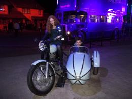 Will Dunn (James Sirius Potter) rides Hagrid's motorbike at WB Studio Tour, 2012