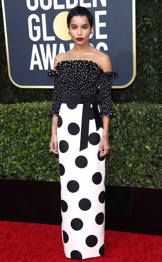 Zoë Kravitz showcases her usual impeccable style on the red carpet at the 2020 Golden Globe Awards.