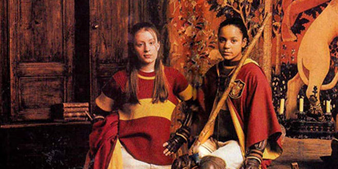 Two of the women on Harry's Gryffindor Quidditch team