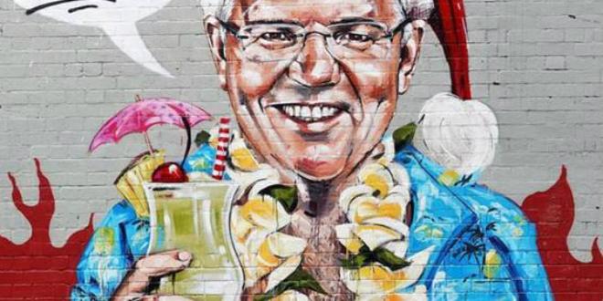 Australian PM, Scott Morrison, Art depicting him on holiday while Australia burns